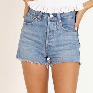 Levi's ribcage jean shorts Urban Oasis wash